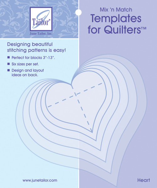 3 Pack June Tailor Mix'n Match Templates For Quilters 6/Pkg-Heart -JT400-412 - 730976041201