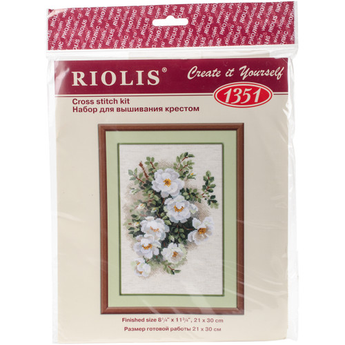 """RIOLIS Counted Cross Stitch Kit 8.25""""X11.75""""-White Briar (14 Count) -R1351 - 4607154527009"""