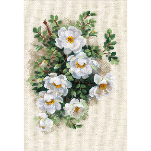 """RIOLIS Counted Cross Stitch Kit 8.25""""X11.75""""-White Briar (14 Count) -R1351"""