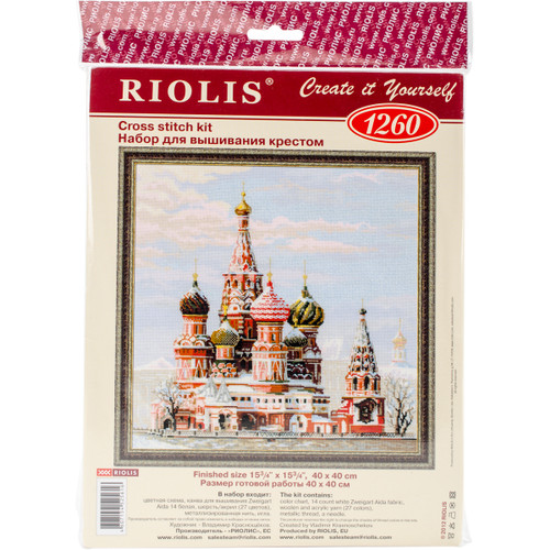 """RIOLIS Counted Cross Stitch Kit 15.75""""X15.75""""-Mosco St Basil's Cathedral (14 Count) -R1260 - 4607154525616"""