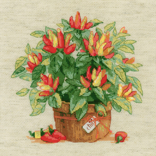 """RIOLIS Counted Cross Stitch Kit 9.75""""X9.75""""-Pepper In A Pot (14 Count) -R1982 - 4630015067444"""