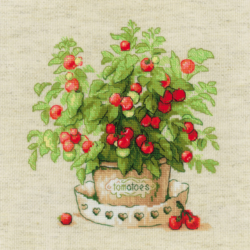 """RIOLIS Counted Cross Stitch Kit 9.75""""X9.75""""-Tomatoes In A Pot (14 Count) -R1983 - 4630015067451"""