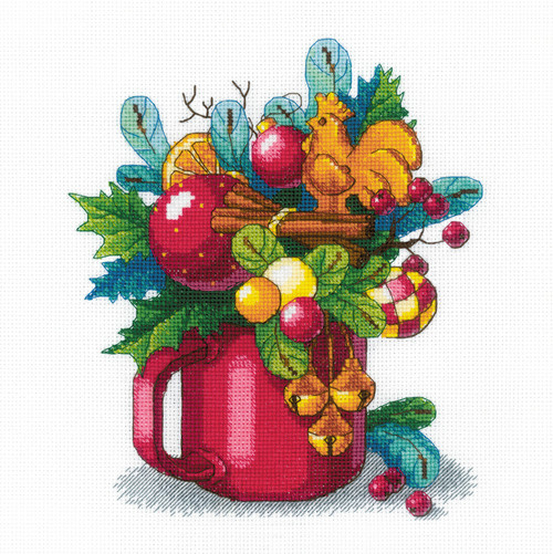 """RIOLIS Counted Cross Stitch Kit 9.75""""X9.75""""-New Year's Aroma (14 Count) -R1985 - 4630015067475"""