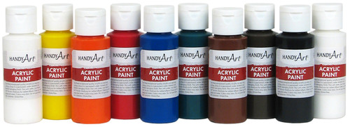 Handy Art Acrylic Paint 2oz 10/Pkg-Assorted -881015