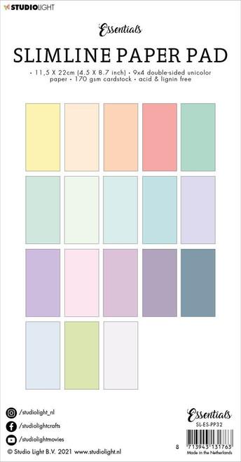 Studio Light Double-Sided Slimline Paper Pad 36/Pkg-NR. 32, Unicolor Pastels -SLESPP32 - 8713943131763
