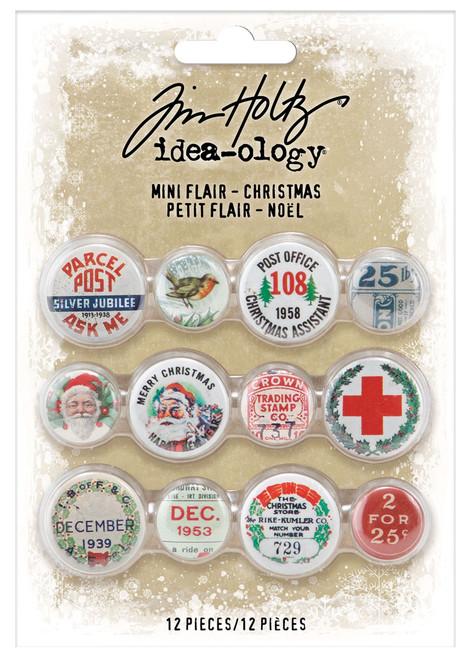 Idea-Ology Mini Flair Buttons 12/Pkg-Christmas -TH94197