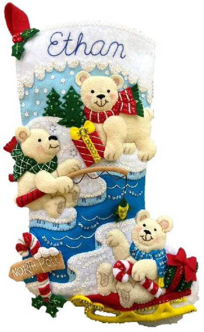 "Bucilla Felt Stocking Applique Kit 18"" Long-Polar Bear Buddies -89465E - 046109894652"