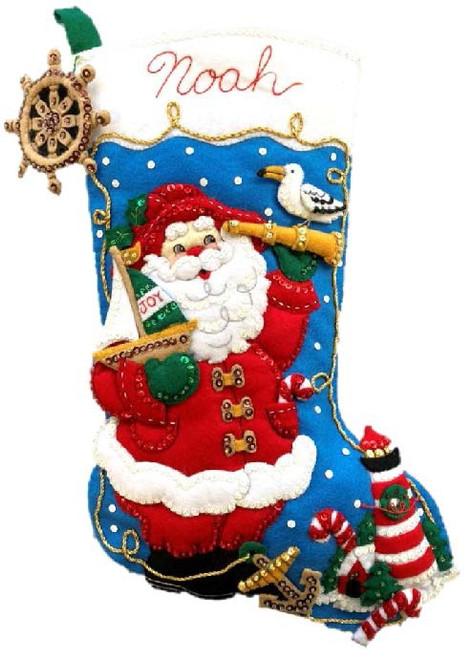"Bucilla Felt Stocking Applique Kit 18"" Long-Ahoy Santa -89466E - 046109894669"