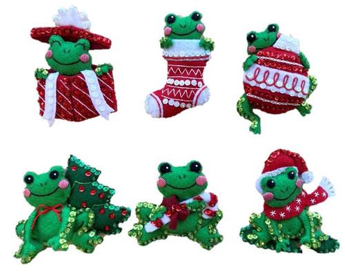 Bucilla Felt Ornaments Applique Kit Set Of 6-Hoppy Holidays -89468E - 046109894683
