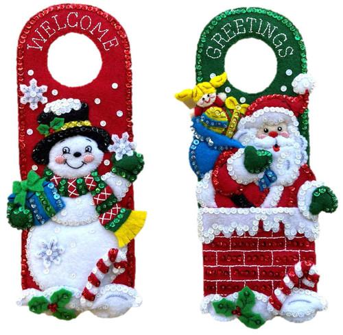 Bucilla Felt Door Hanger Applique Kit Set Of 2-Holiday -89471E - 046109894713