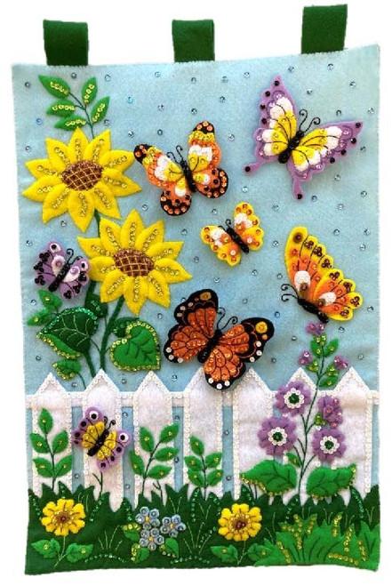 Bucilla Felt Wall Hanging Applique Kit-Butterfly Garden -89470E - 046109894706