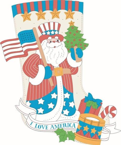 "Bucilla Felt Stocking Applique Kit 18"" Long-Stars & Stripes Santa -89472E - 046109894720"