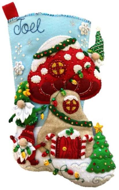 "Bucilla Felt Stocking Applique Kit 18"" Long-Gnome For Christmas -89473E - 046109894737"