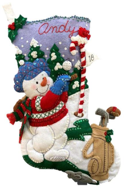 "Bucilla Felt Stocking Applique Kit 18"" Long-Golfing Snowman -89474E - 046109894744"