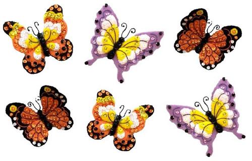 Bucilla Felt Ornaments Applique Kit Set Of 6-Butterfly Garden -89488E - 046109894881