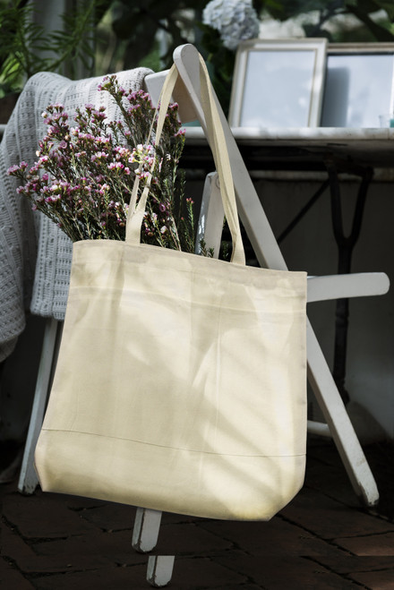 """Wear'm Large Tote With Pockets 18""""x16""""x3""""-Natural -MR412"""