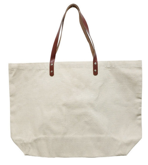"""Wear'm Large Tote With Leather Straps 20""""x15""""x5""""-Natural -MR195 - 842672049822"""