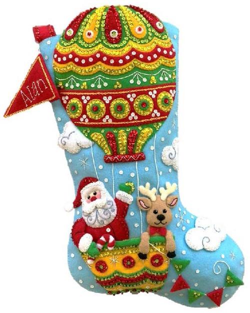 """Bucilla Felt Stocking Applique Kit 18"""" Long-Santa's Balloon Ride -89467E - 046109894676"""