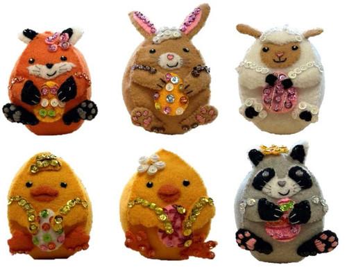 Bucilla Felt Ornaments Applique Kit Set Of 6-Easter Egg Friends -89469E - 046109894690