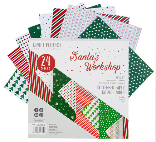 """2 Pack Craft Perfect Double-Sided Cardstock 6""""X6 24/Pkg-Santa's Workshop -9384E"""