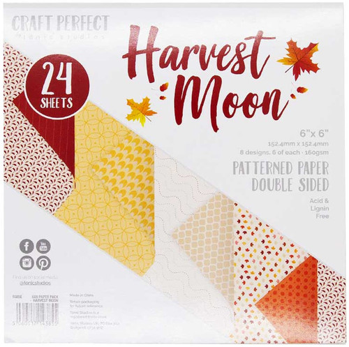 """2 Pack Craft Perfect Double-Sided Cardstock 6""""X6 24/Pkg-Harvest Moon -9385E - 818569023855"""