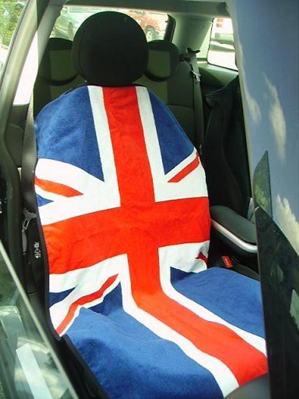 Mini Cooper Union Jack Red White Blue Car Seat Cover Towel