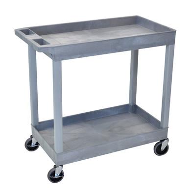 18 x 32 Gray Tub Cart 2 shelves Item EC11-G