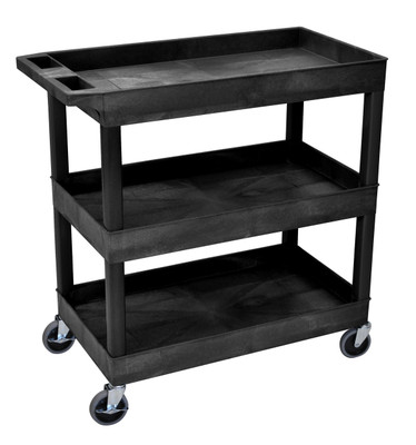 18 x 35 ¼ Inch Black Tub Cart 3 shelves Item EC111-B