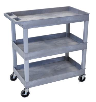 18 x 35 ¼ Inch Gray Tub Cart 3 shelves Item EC111-G