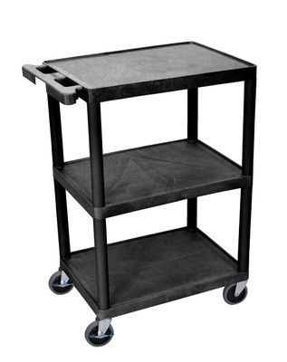 """34"""" H Plastic Cart With 3 Shelves Item HE34-B"""