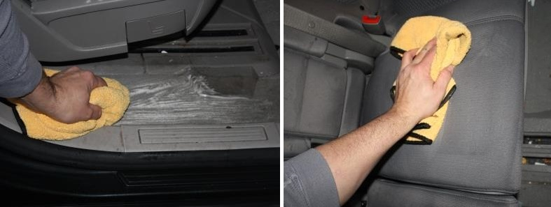 Wipe Away Dry Foam with Microfiber Towel