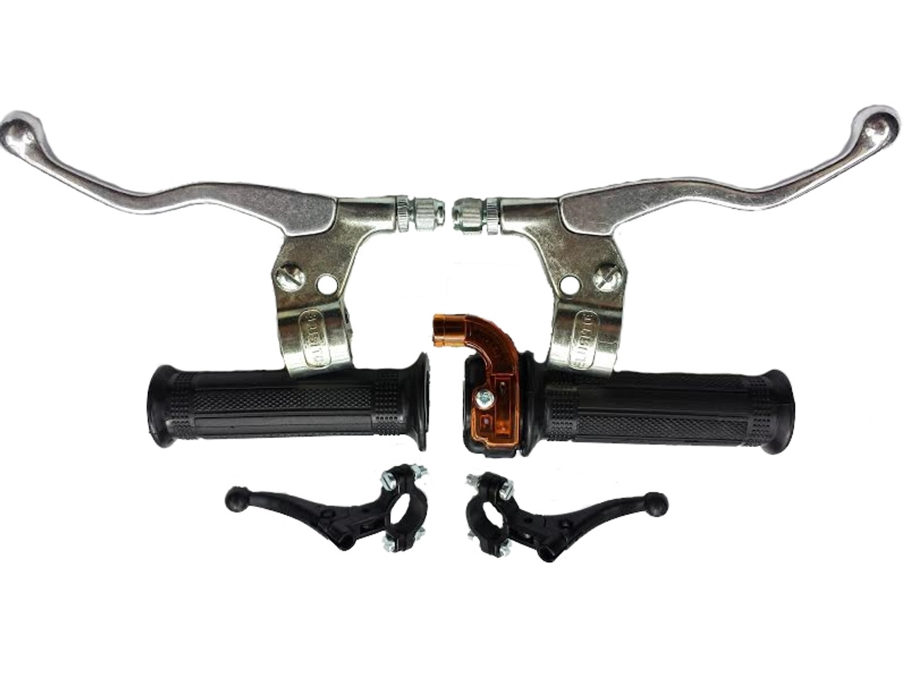 Universal Moped Hand Control Set - Silver Levers