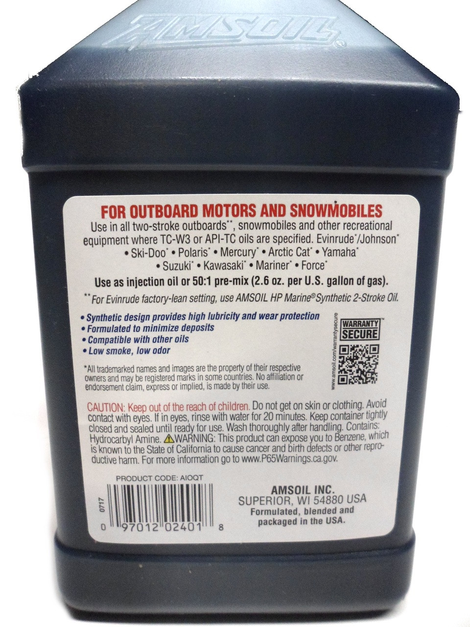 Amsoil Synthetic 2-Stroke Injector Mixing Oil -  1 US Quart