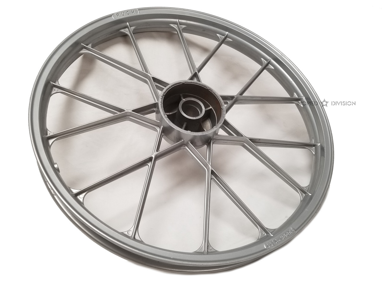 """NOS Puch 17"""" Snowflake Mag Wheel, Front - Bare"""