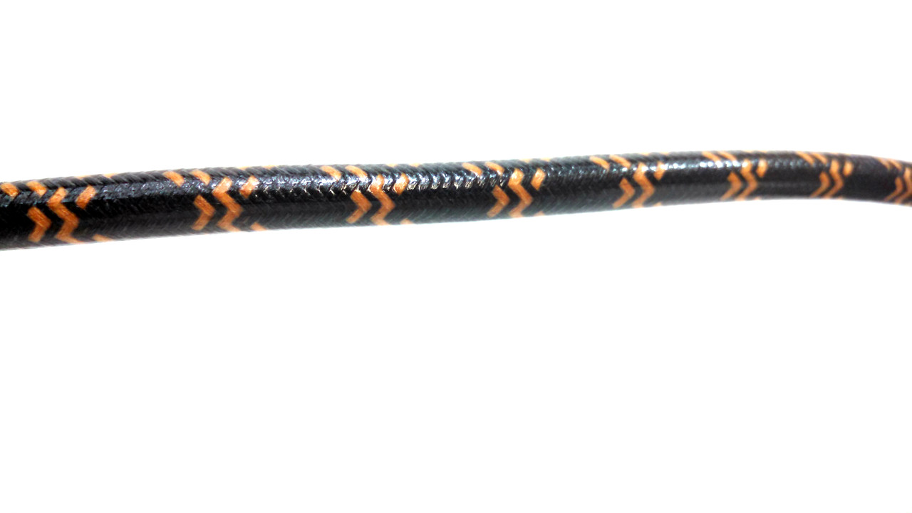Cotton Braided Spark Plug Wire, Black with Orange Tracers *by the foot*