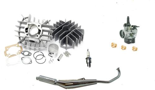 Tomos A55 70cc Airsal Speed Package w/ 17.5 Dellorto PHVA Carburetor Spark Plug Jets & Tecno Bullet Exhaust