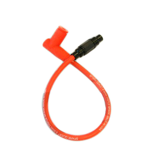 """Racing Red Spark Plug Cable / Cap with wire connector - 20"""""""