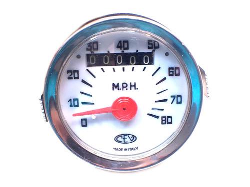 NOS CEV  80mph White Face Speedometer