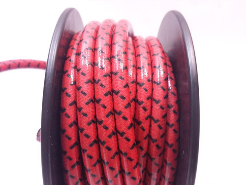 Cotton Braided Spark Plug Wire, Red with Black Tracers *by the foot*