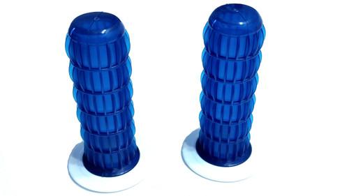"MetalPlast Retro / Vintage Handlebar Grips Blue and  White- 7/8"""