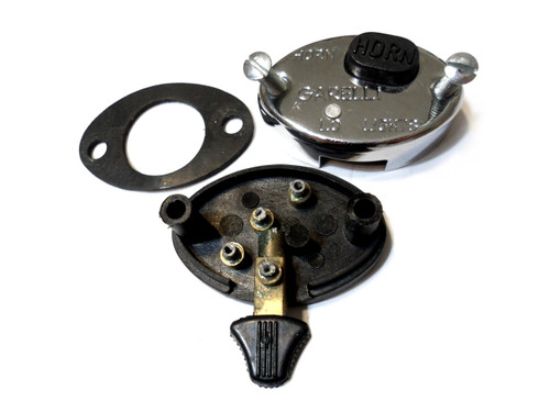 NOS Garelli Chrome Metal  Horn / Light Switch - Domino Diamond Controls Style