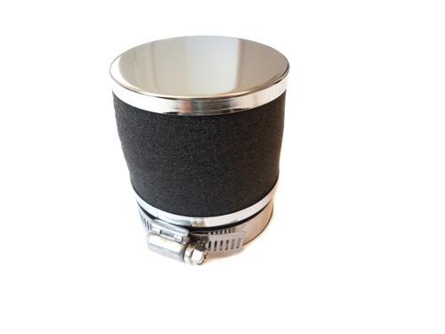 60mm Foam Moped Air Filter for SHA Carburetors - Black and Chrome