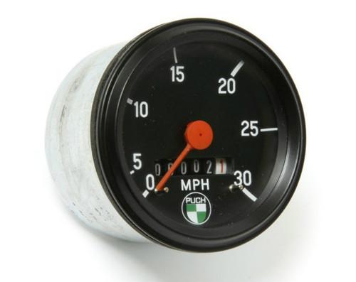 NOS Puch VDO Speedometer, Black Bezel