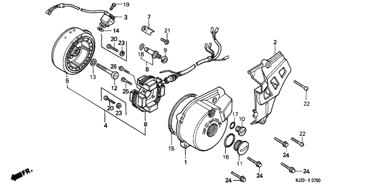 genuine honda tl125 1983 pulse (toyo) generator assembly part 3:  30300kj2154 (1465756