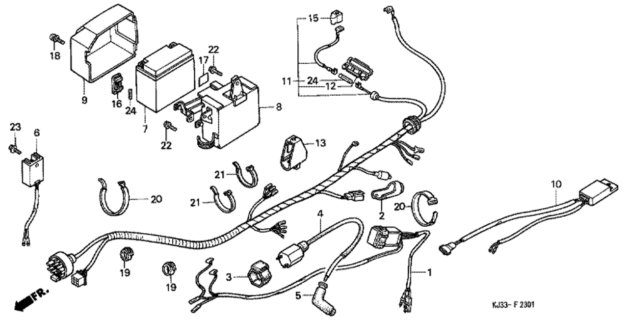 genuine honda tl125 1988 regulator rectifier complete part 10: 31600kj2670  (1465681)