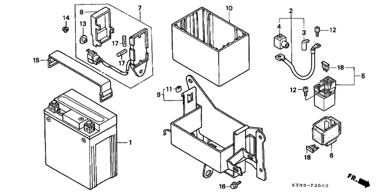genuine honda rebel 2001 fuse box assembly part 7: 38200kr3871 (1526062)