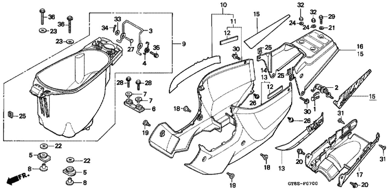 Genuine Honda Wallaroo 1995 Body Cover Clip Part 26 90683gt8b00