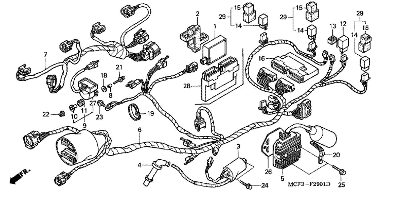 genuine honda rc51 2000 rear wire harness part 6: 32101mcf670 (2050027)