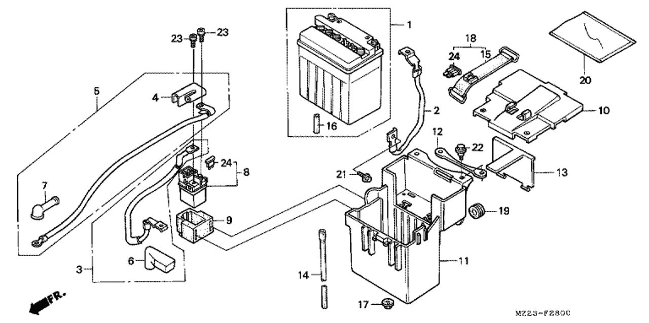 Genuine Honda Cbr1000f 1996 Battery Box Lid B Part 13 50328ms2000
