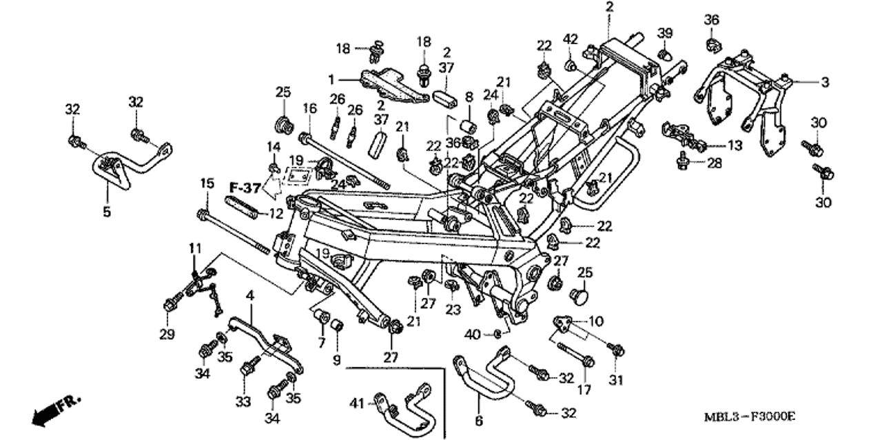 Genuine Honda Deauville Nt650v3 Right Engine Guard Part 5